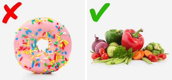 Ngăn ngừa mụn Thực phẩm, hoa quả, bánh kẹo chứa nhiều đường là nguyên nhân gây ra mụn. Để ngăn ngừa mụn phát sinh, hãy ăn nhiều rau lá xanh, các loại hoa quả chua, chứa nhiều nước.