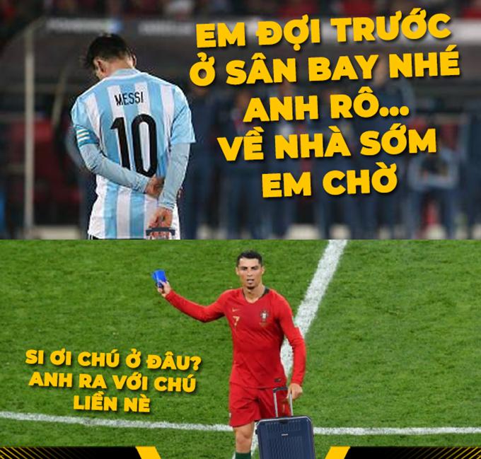Ronaldo theo chân Messi rời World Cup 2018 không lâu sau đó.