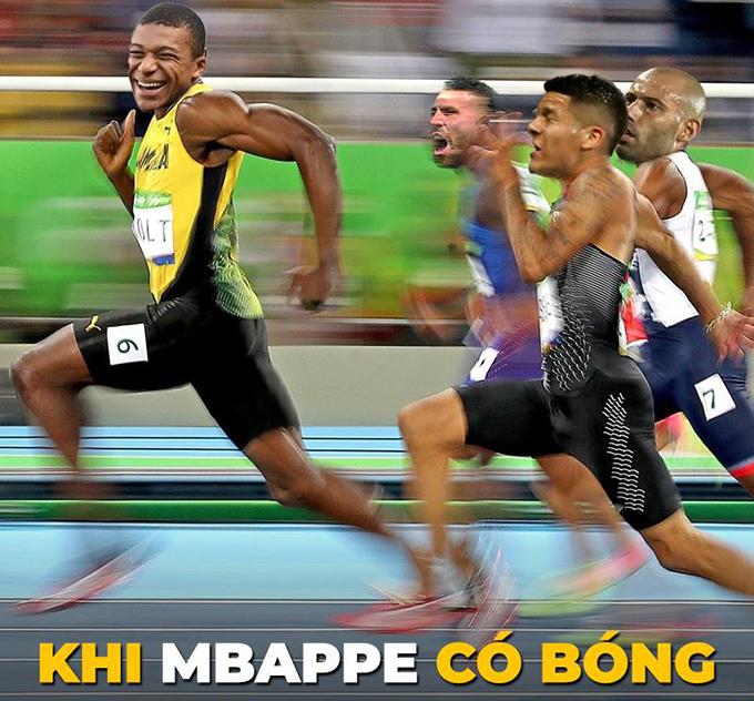 Mbappe được ví như thỏ, trong khi các cầu thủ của Argentina là rùa, họ dường như không thể nào đuổi kịp được anh.