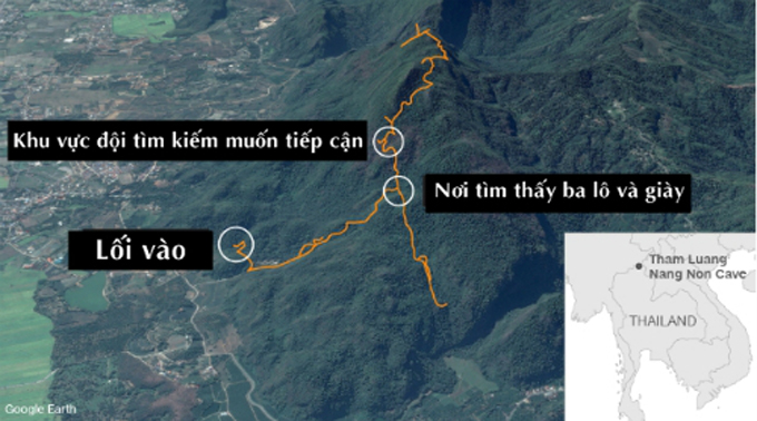 Khu vực hang Tham Luang nơi đội bóng Thái Lan đang bị kẹt. Đồ họa: CNN.
