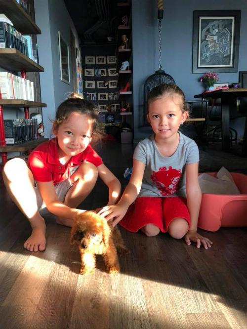 Hai bé Tôm Tép chơi đùa bên cún cưng.