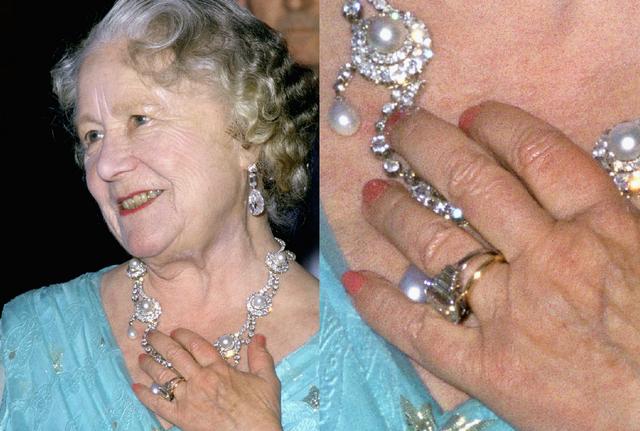 Những bức ảnh chụp vào giữa những năm 1980 đã cho thấy cố Thái hậu Elizabeth đeo chiếc nhẫn trong một sự kiện buổi tối.