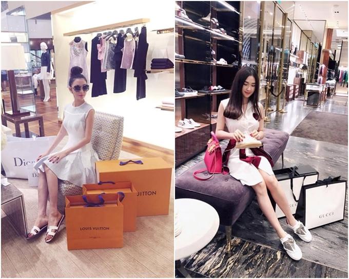 Cuộc sống của Ngọc Loan tràn ngập hàng hiệu. Trong một lần du lịch tại Singapore, người đẹp không ngần ngại vung tiền mua hàng loạt món đồ đắt giá của Gucci, Louis Vuitton, Dior...