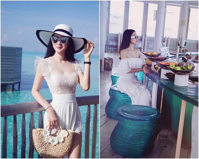 Người đẹp có sở thích du lịch. Cô vừa đến thăm thiên đường Maldives và có những phút thư giãn tại khu nghỉ dưỡng cao cấp.