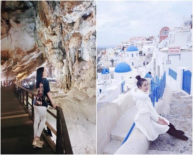 Cô tham quan nhiều địa danh, từ hang Thiên đường (Việt Nam - trái) đến Santorini (Hy Lạp).