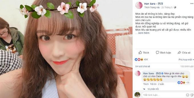 Hot girl người Hàn Quốc - Han Sara liệt kê ra một loạt lợi ích khi nhịn như nhịn ăn sẽ không bị béo, dáng đẹp. Nhịn khi ba mẹ la không làm ba mẹ phiền lòng, hàng xóm chê cười. Nhịn khi đồng nghiệp cư xử không đúng, sẽ giữ được mối quan hệ. Nhưng cô và nhiều bạn trẻ giống mình chắc chắn sẽ phát điên, bực tức nếu điện thoại không thể kết nối internet hay vào Facebook.Lối liệt kê hài hước của hot girl nhận được48.000 likes, 159 comments và 96 shares. Các fan đều đồng ý với quan điểm của Han Sara đồng thời khen cô xinh đẹp,đáng yêu cũng nhưduyên hết phần người khác.