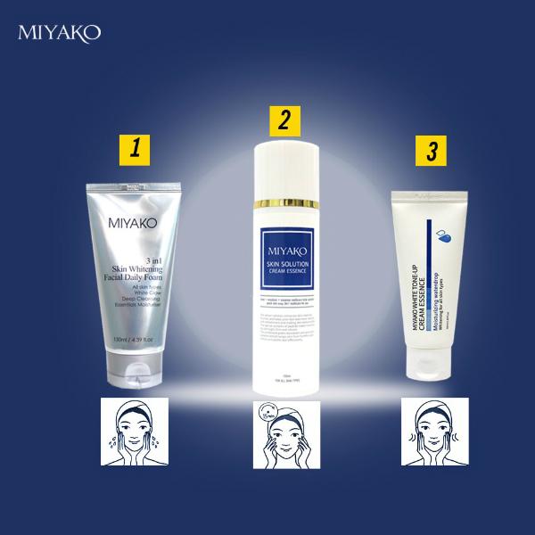 Ba sản phẩm ứng với ba bước chăm sóc da của Miyako.