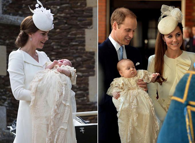 Chiếc áo choàng từng được mặc cho Charlotte (trái) và George (phải) trong lễ rửa tội. Ảnh: PA, Mirror.