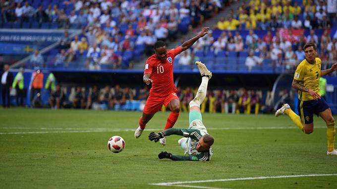Sterling bỏ lỡ cơ hội nhân đôi cách biệt cho tuyển Anh ở cuối hiệp một. Ảnh: FIFA.