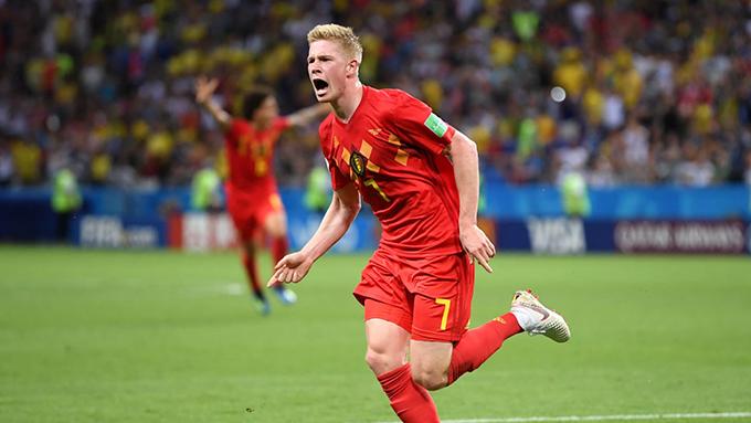De Bruyne mừng bàn thắng nâng tỷ số lên 2-0 cho tuyển Bỉ. Ảnh: FIFA.