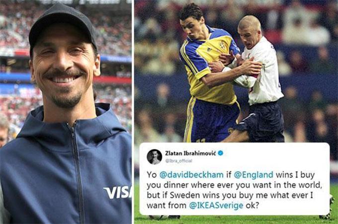 Becks đặt kèo đưa Ibrahimovic đi shopping nếu Anh thua Thụy Điển