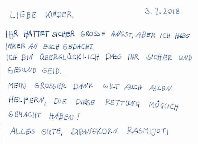 Bức thư cảm ơn đội cứu hộ của hoàng tử nhí viết bằng tiếng Đức và đề ngày 3/7. Ảnh: Khaosodenglish.