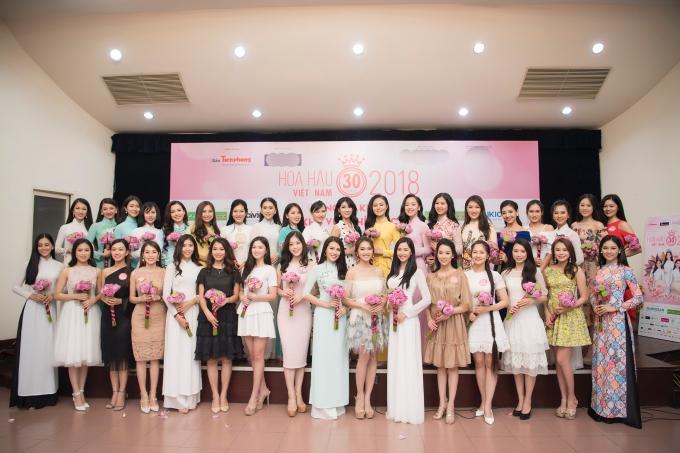Các người đẹp vượt qua vòng sơ khảo phía Bắc Hoa hậu Việt Nam 2018.