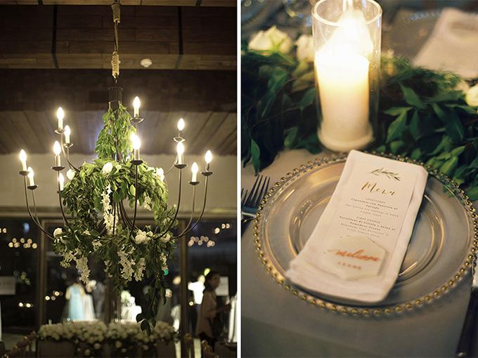 Tiệc cưới được tối giản các chi tiết trang trí, thực đơn dùng phông chữ viết tay và chỉ có họa tiết nhành cây làm điểm nhấn.