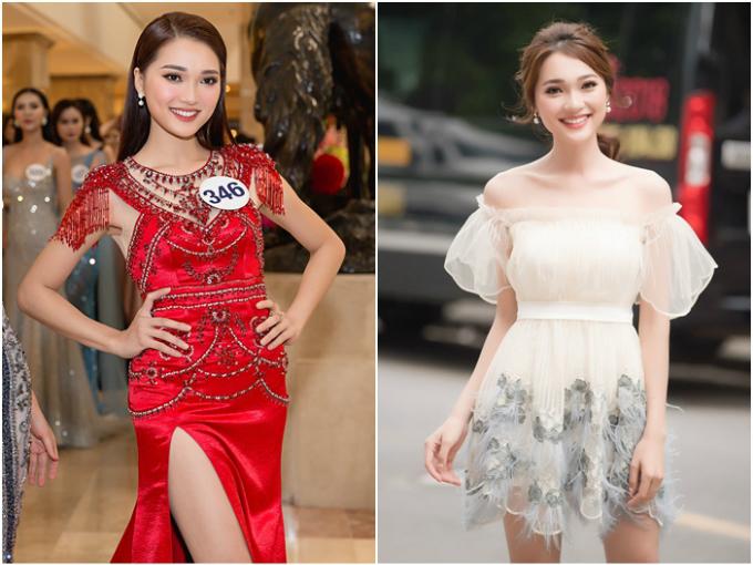 Nguyễn Thị Ngọc Nữ năm nay 24 tuổi, lọt top 10 Hoa hậu Hoàn vũ Việt Nam 2017 và giải phụ Người đẹp Ảnh. Tuy chỉ cao 1,65m, gương mặt xinh đẹp, nụ cười rạng rỡ là lợi thế của người đẹp xứ Nghệ tại sân chơi nhan sắc mới.