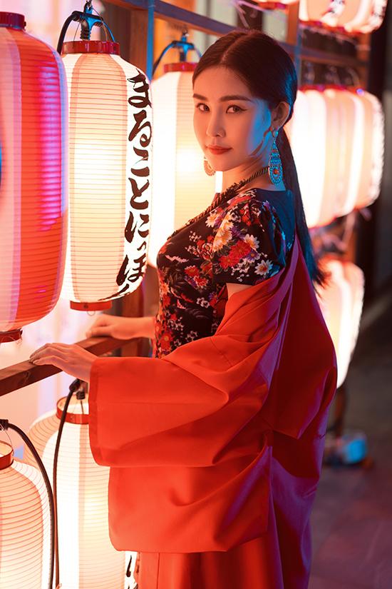 Lê Âu Ngân diện áo dài cách tân khoe dáng tại Nhật Bản - 8