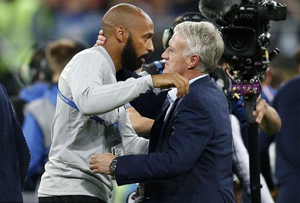 Henry gửi lời chúc mừng tới đồng đội cũ Deschamps, người đang dẫn dắt tuyển Pháp rất thành công. Cựu đội trưởng Les Bleus đưa đội bóng liên tiếp lọt vào chung kết Euro 2016 và World Cup 2018.