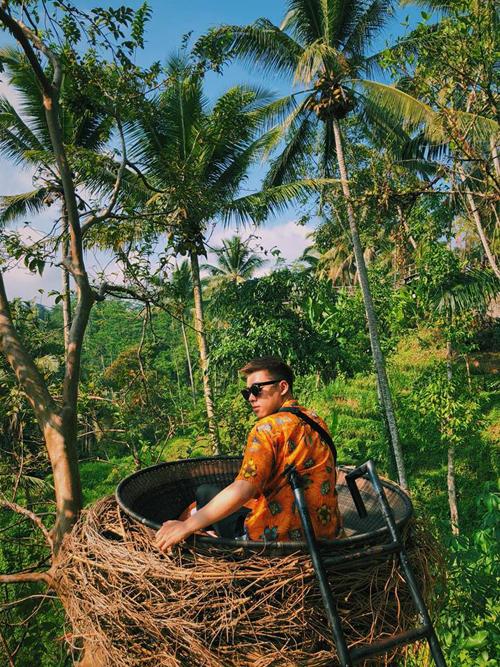 Hoàng và gia đình lựa chọn nghỉ tại các khách sạn có khung cảnh thiên nhiên tuyệt đẹp, nhiều không gian sống ảo, lẫn giữa màu xanh bát ngát của núi rừng nhưPondok Sebatu Villa, Four Points by Sheraton, Seminyak Icon by Karaniya Experience. Đây đều là những cái tên khá đình đám ở đảo Bali.