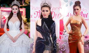 Á hậu Thư Dung liên tục thay váy trong tiệc cảm ơn