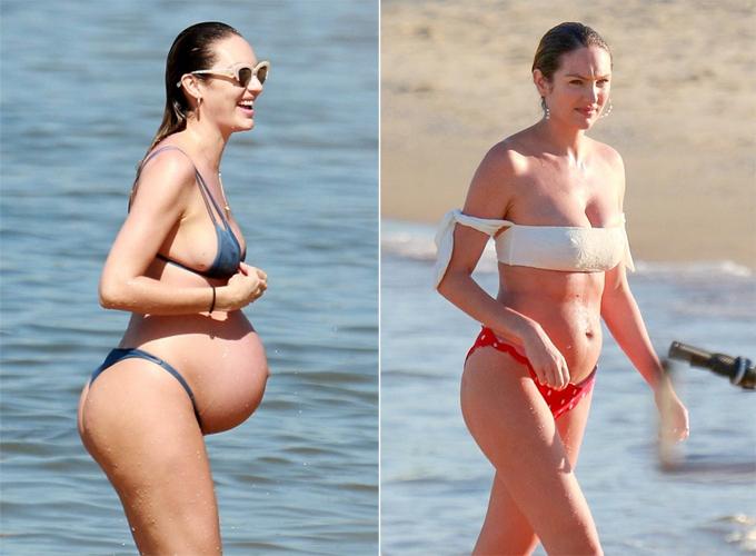 Candice Swanepoel chỉ vừa sinh con trai thứ hai vào ngày 19/6. Sau 18 ngày, thiên thần nội y tự tin mặc áo tắm hai mảnh đi tắm biển ở Brazil.