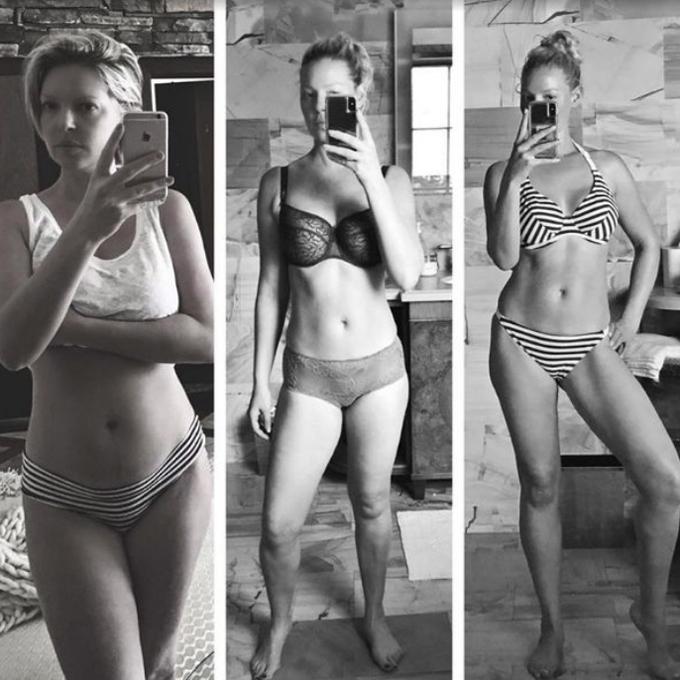 Nữ diễn viên Katherine Heigl tiết lộ quá trình giảm cân sau lần sinh nở đầu tiên (từ trái qua phải): 1 tháng - gần 1 năm - tròn một năm sau sinh. Ngôi sao 39 tuổi cho biết, mục tiêu của cô là đạt được cơ thể vừa vặn, khỏe khoắn và sexy.