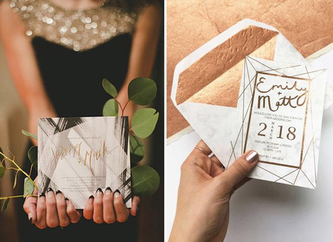 Nhà thiết kế đã khéo léo lồng ghép, đan cài những hình đa giác với nhau để tạo nên tấm thiệp độc đáo, ấn tượng.