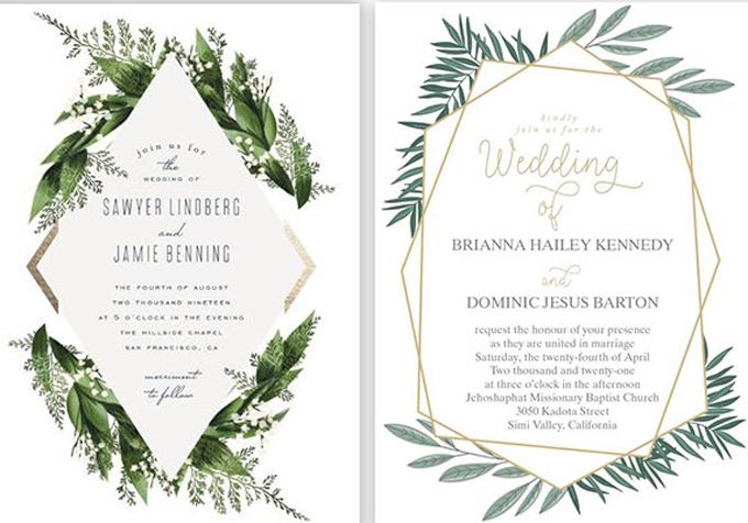 Mỗi tấm thiệp được thiết kế khéo léo, tinh tế gợi cảm giác mát mắt, đặc biệt phù hợp cho đám cưới tổ chức vào mùa xuân, hè.