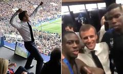 Tổng thống Pháp ngẫu hứng nhảy cùng các cầu thủ trong phòng thay đồ
