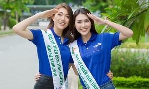 Lệ Hằng, Tường Linh mặc năng động đi giao lưu với sinh viên