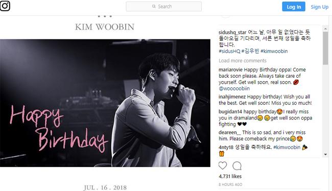 Công ty quản lý chúc mừng sinh nhật Kim Woo Bin.