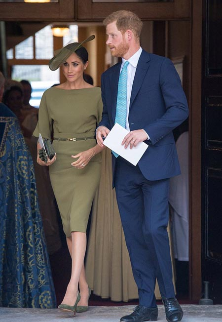 Subtle style comes at a cost  Supposedly selected so she wouldnt outshine Kate, this olive green dress by Ralph Lauren seemed the perfect choice for the christening of Prince Louis this week.  But the price tags make it anything but discreet. The dress alone costs £1,600, plus a £695 Mulberry clutch bag, £95 gloves by Cornelia James and a pair of £700 Manolo Blahnik stilettos.  Her hat, by milliner Stephen Jones, is around £600, while those glinting Galanterie de Cartier studs, thought to be a pre-wedding gift from Harry, are estimated at £60,000.   Cost: £63,690