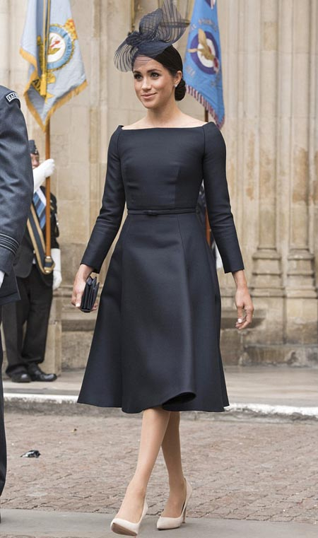 French frock for RAF   Stepping out for the RAF centenary celebrations, Meghan plumped for a £2,000 Dior couture dress.  Paying no heed to suggestions that she might have chosen a British designer for this patriotic occasion, she dressed almost entirely in the French fashion brand, wearing £520 suede pumps and carrying a £1,200 satin clutch bag. Her swirl-shaped fascinator, by Stephen Jones, is believed to cost around £300.  Cost: £4,020