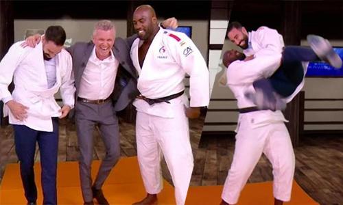 Trung vệ tuyển Pháp thượng đài với võ sĩ vô địch judo thế giới