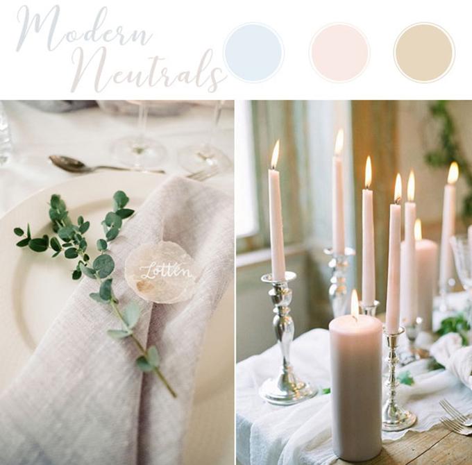 Bảng màu này gợi cảm giác nhẹ nhàng và bay bổng với ba màu nhạt của xanh lơ, hồng và nâu. Cặp sắp cưới sử dụng nến để không gian thêm ấn tượng mà gợi cảm giác ấm áp, tinh tế và trang nhã.