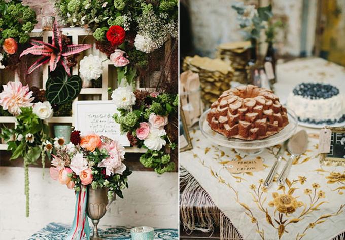 Uyên ươngsử dụng nhiều hoa to bản và bánh cưới hình quả thông. Sắc màu vàng đồng xuyên suốt tạo nên vẻ hài hòa, cuốn hút cho đám cưới.