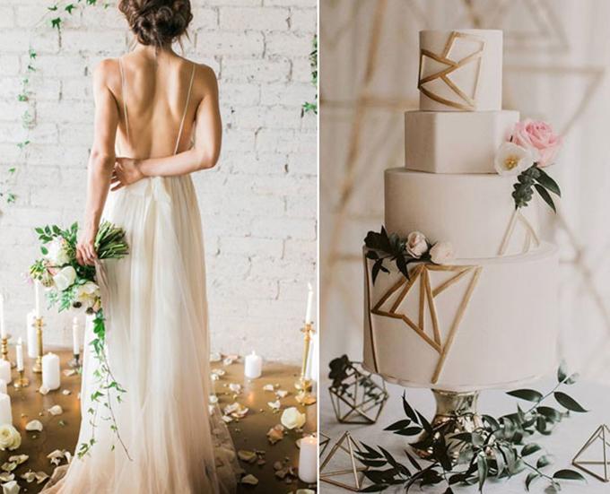 Tiệc cưới sử dụng bảng màu này thường hướng đến sự mới lạ, phá cách. Vì vậy, không có gì ngạc nhiên khi uyên ương tô điểm cho bánh cưới bằng những hình đa giác, là xu hướng nổi bật trong tiệc cưới hiện đại.