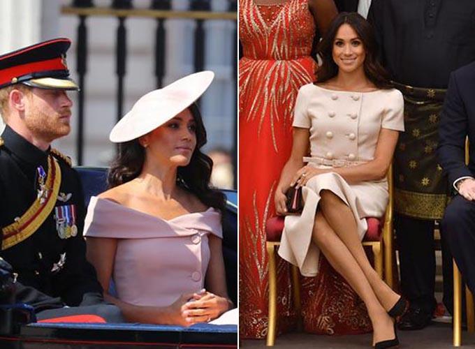 Meghan xinh đẹp với váy hồng trễ vai ở sự kiện sinh nhật Nữ hoàng hôm 8/6 (ảnh trái) và tại lễ vinh danh các nhà lãnh đạo trẻ Khối Thịnh vượng chung ngày 26/6. Ảnh: WENN, PA.