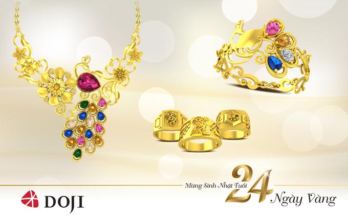 Lấy cảm hứng từ chất liệu vàng truyền thống, trang sức vàng 24K hiện đại, độc đáo và trẻ trung, toát lên vẻ đẹp rạng rỡ và quyến rũ cho bất kỳ cô gái nào. Trong 24 ngày vàng, DOJI ưu đãi 15% công chế tác trang sức vàng 24K và đúc nguyên khối.