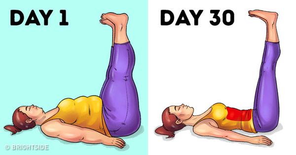 Bài tập nâng cao chân giúp làm tan mỡ thừa bụng, mông và đùi.