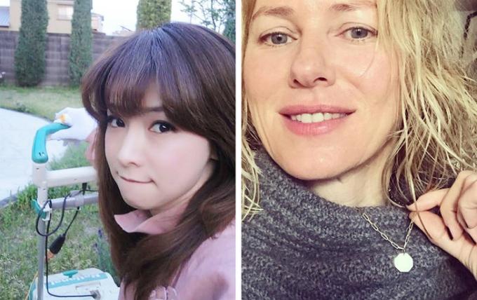 Cùng sinh năm 1968 nhưng Masako Mizutani (trái) trông trẻ trung hơn hẳn so với Naomi Watts (phải).