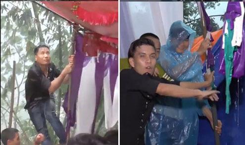 Trai làng hợp sức giữ rạp cho người dân ăn cỗ cưới ngày bão