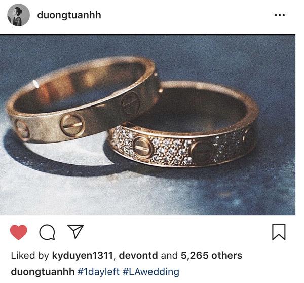 Cặp nhẫn cưới của vợ chồng Tú Anh có giá trị khoảng 200 triệu đồng.