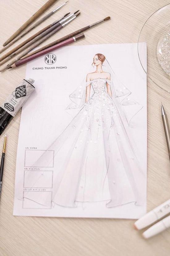 Bản vẽ tay váy cưới của Tú Anh do NTK Chung Thanh Phong thực hiện.