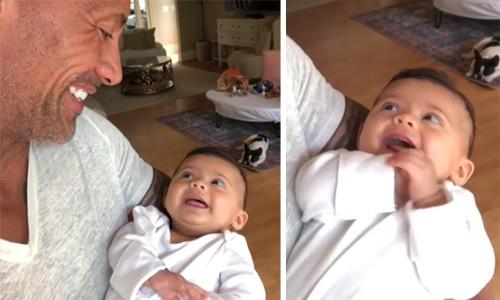 Con gái nhỏ cười tít mắt khi Dwayne Johnson nhận mình là 'ông bố sexy nhất thế giới'