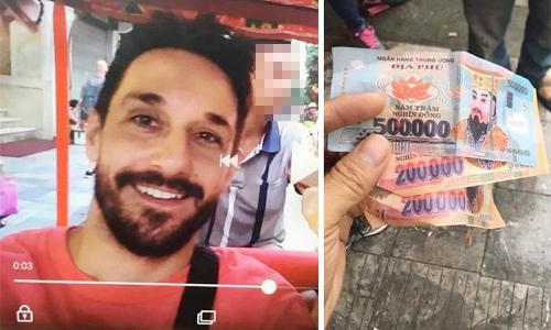 Nam du khách người Tây Ban Nha bị trả lại tiền âm phủ. Ảnh: Hữu Phước.