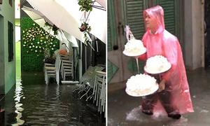 Nhà trai bì bõm bê sính lễ trong ngày ăn hỏi mưa bão
