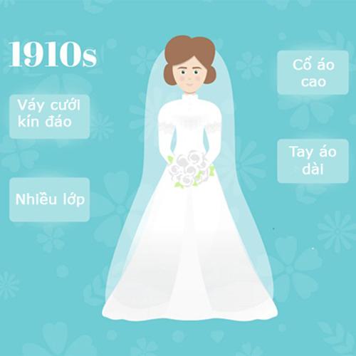 Những năm 1910, váy cưới có cổ cao, tay áo dài, nhiều lớp lang. Cô dâu diện mẫu đầm kín như bưng từ cổ trở xuống và mặc thêm váy lót bên trong. Chiếc váy rủ, nhẹ, chất liệu cotton và dáng dài chấm đất.Tổng thể thiết kếhướng đến sự thanh lịch, dịu dàng. Thời điểm này, xã hội đề cao vẻ đẹp tự nhiên do vậy cô dâu được trang điểm rất nhẹ.