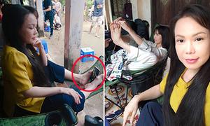 Ngọc Trinh bắt chước chiêu chụp hình bằng chân của Việt Hương
