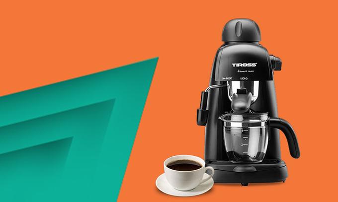 Máy pha cà phê TirossTS620 giá gốc 1,46 triệu đồng,khuyến mãi còn 899.000 đồng. Sản phẩm có chức năng bảo vệ nhiệt và ứng dụng hệ thống chống nhỏ giọt nhằm giữ vệ sinh máy. Người dùng có thể pha được từ một đến bốn tách cà phê trong một lần, đồng thời máy cũng có chức năng pha Espresso.