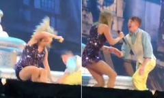 Taylor Swift ngã ngồi trên sân khấu vì mưa